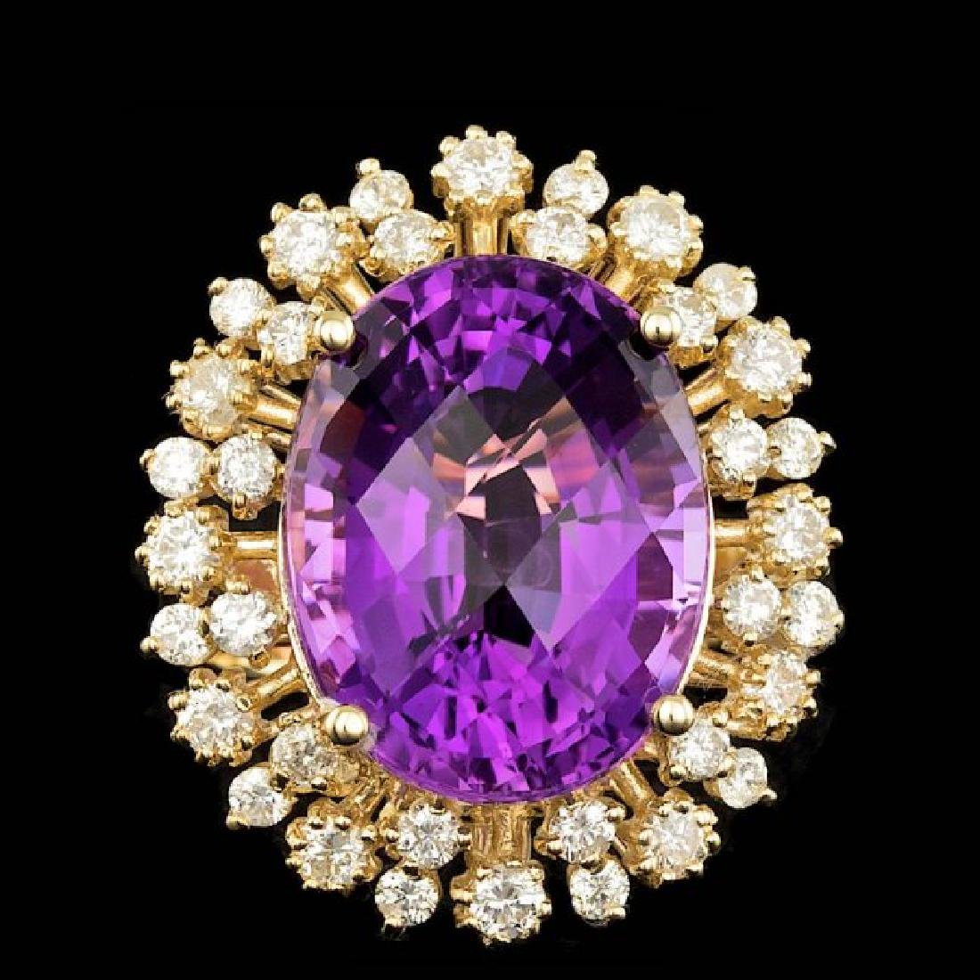 14k Gold 14.00ct Amethyst 1.50ct Diamond Ring