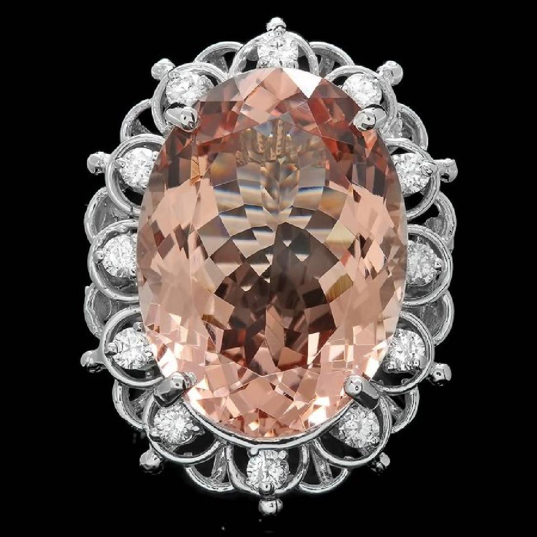 14k Gold 18.50ct Morganite 0.60ct Diamond Ring