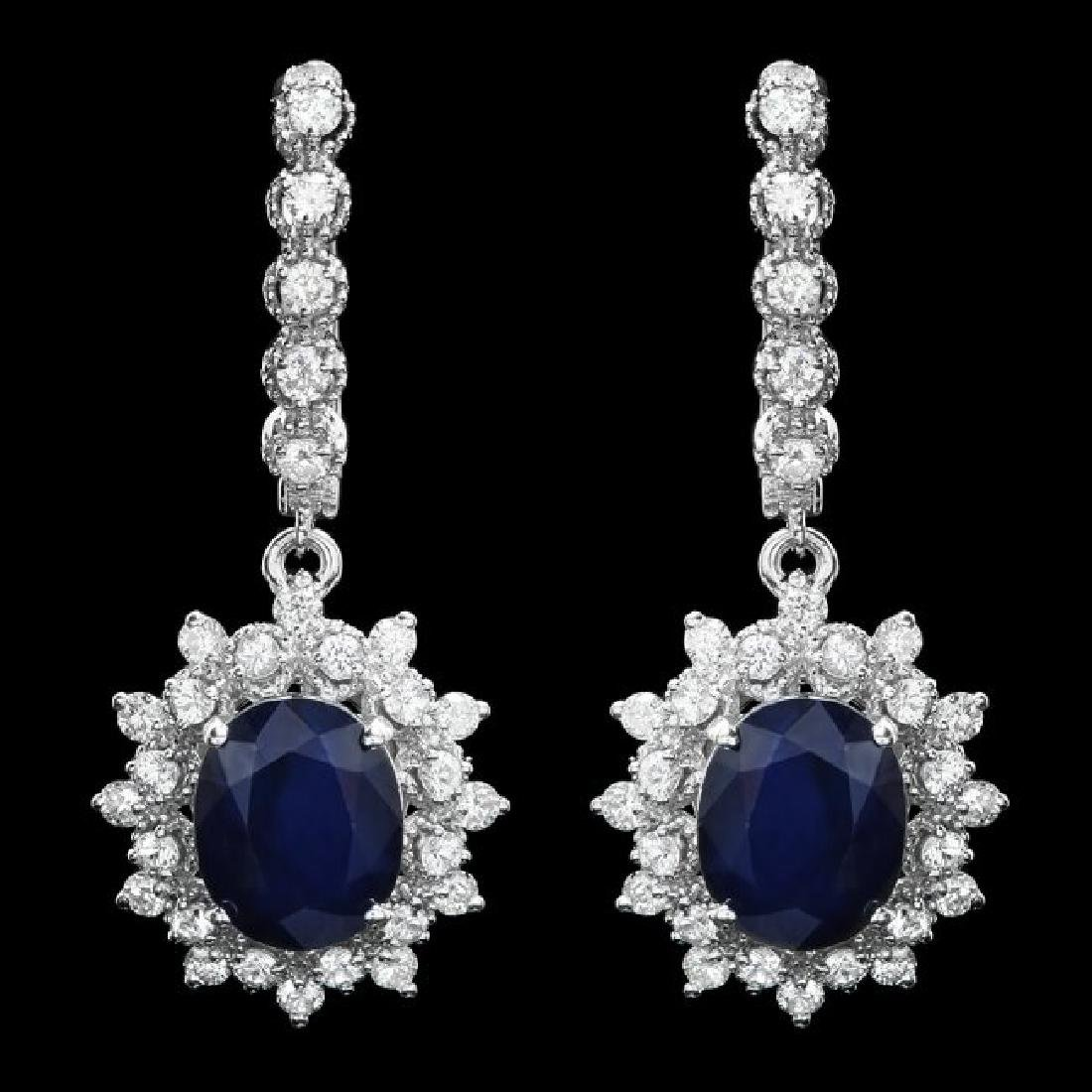 14k Gold 6.0ct Sapphire 1.60ct Diamond Earrings