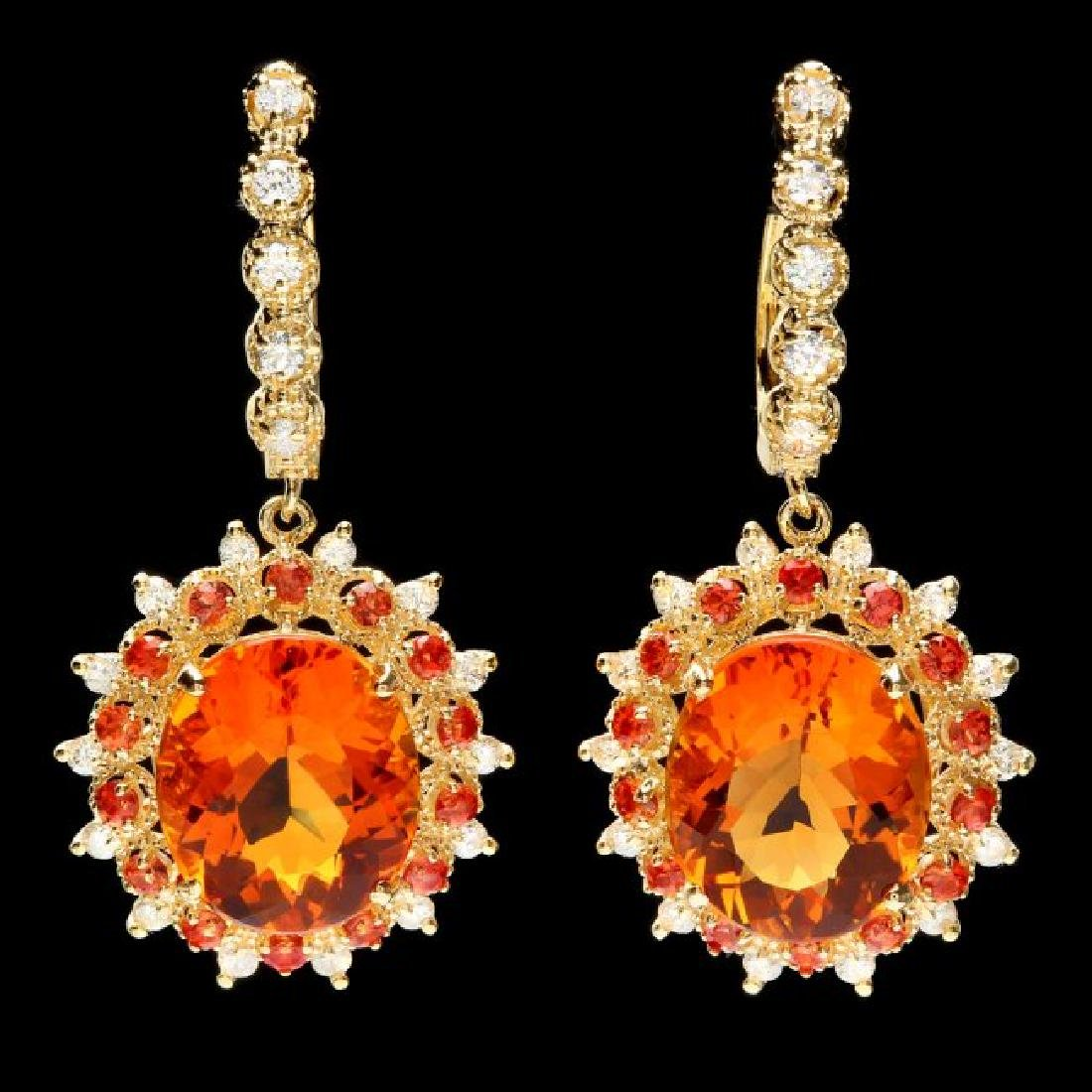 14k Gold 11ct Citrine 0.85ct Diamond Earrings