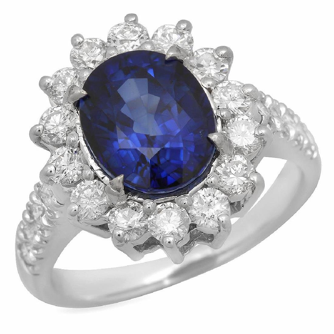 14K Gold 2.51ct Sapphire 1.15ct Diamond Ring