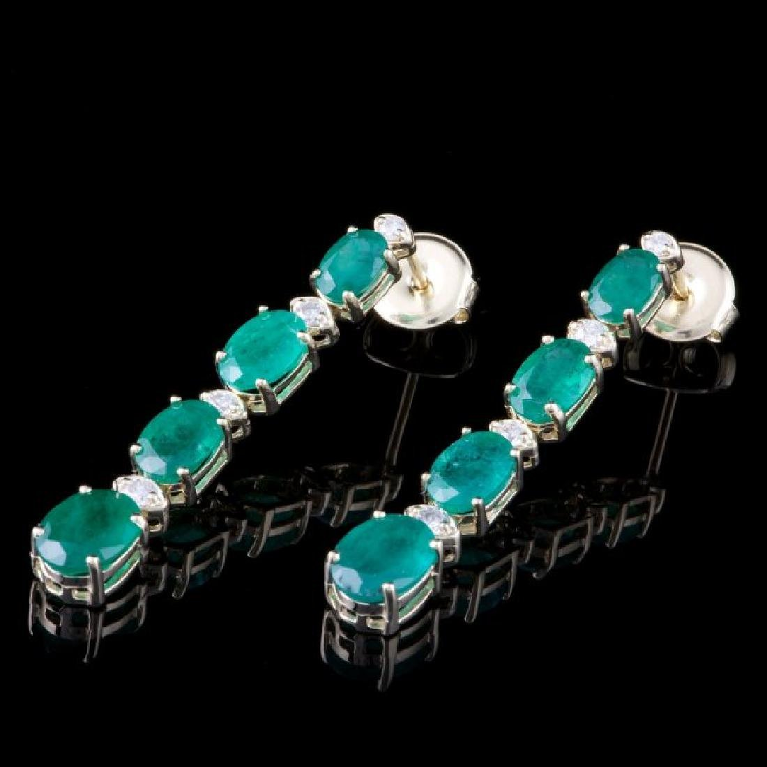 14k Gold 6.00ct Emerald 0.40ct Diamond Earrings