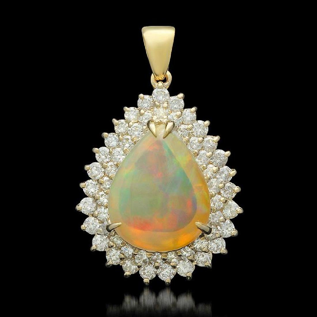 14K Gold 6.64ct Opal 1.95ct Diamond Pendant