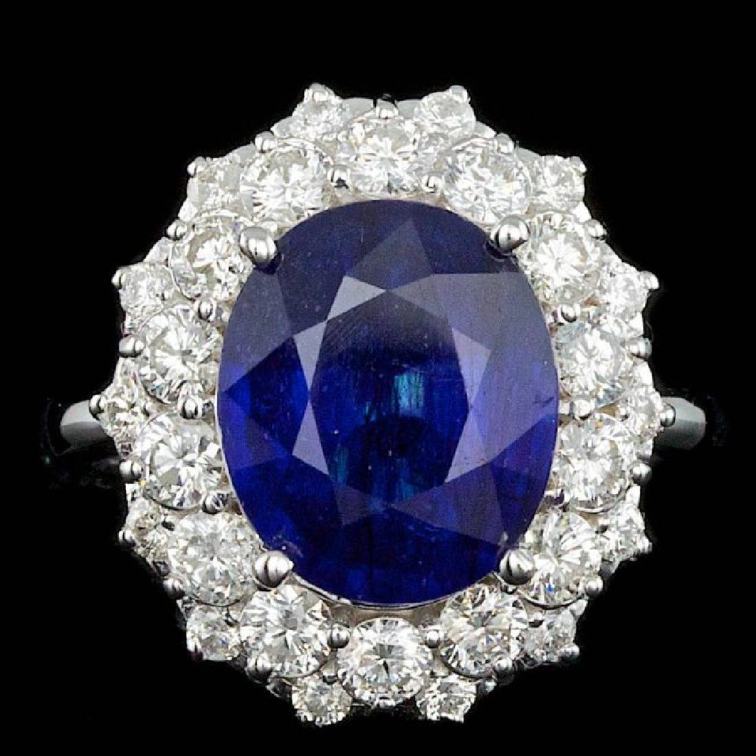 14k Gold 7.00ct Sapphire 1.75ct Diamond Ring