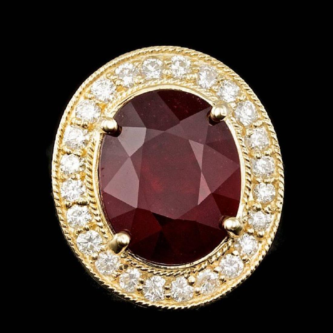 14k Yellow Gold 10.50ct Ruby 0.90ct Diamond Ring