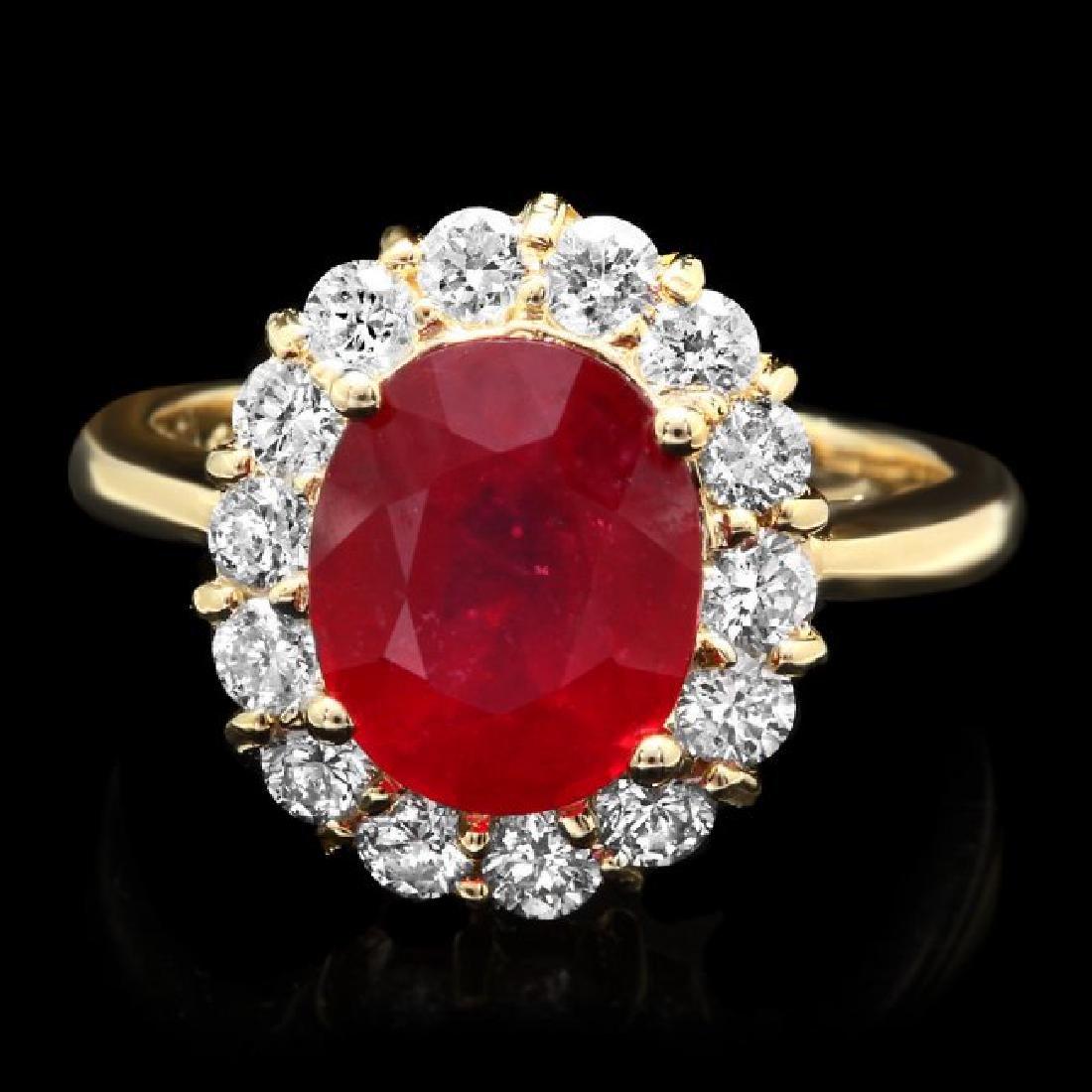 14k Yellow Gold 4.00ct Ruby 0.90ct Diamond Ring