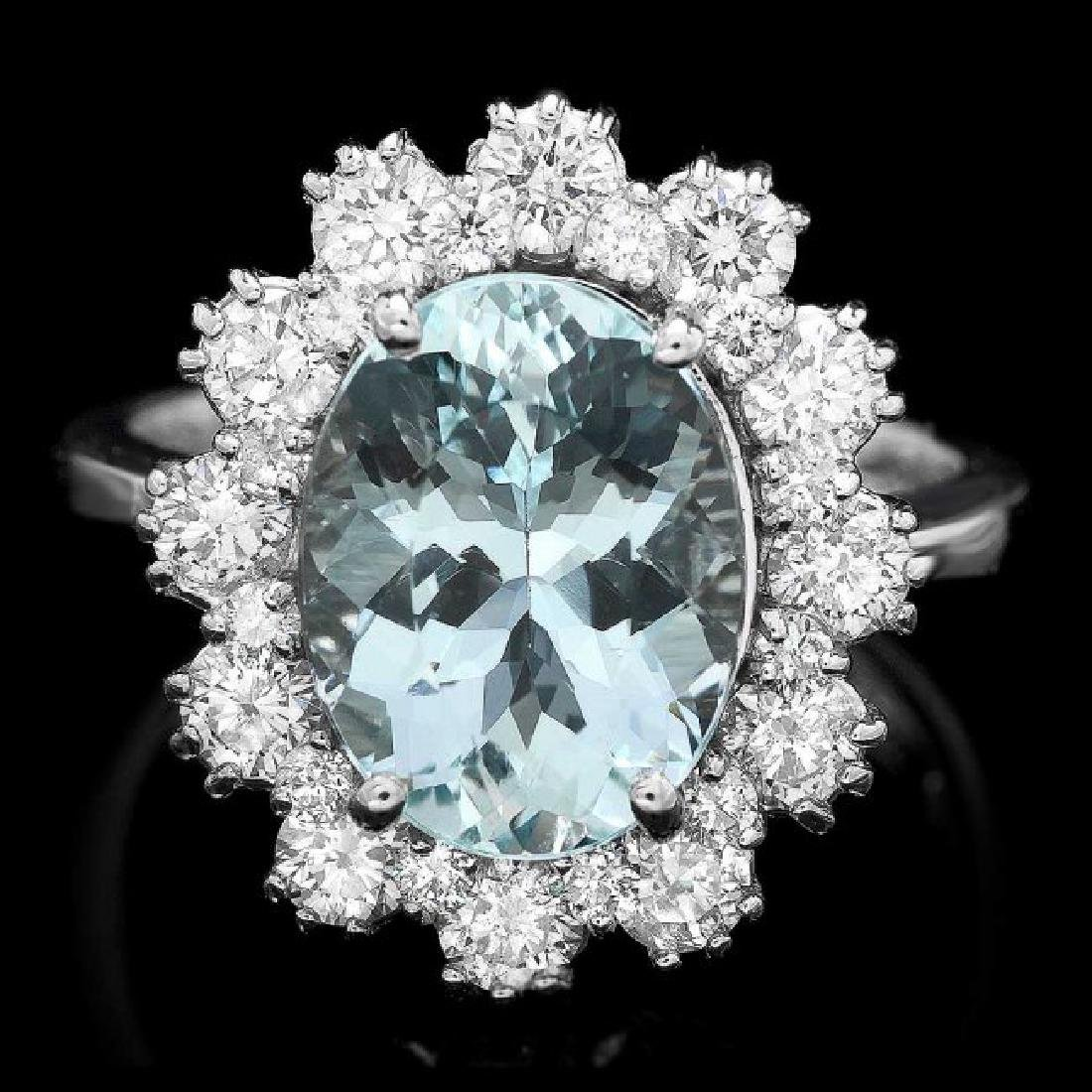 14k Gold 3.00ct Aquamarine 1.25ct Diamond Ring