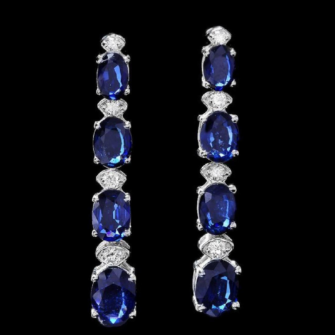 14k Gold 7ct Sapphire 0.35ct Diamond Earrings