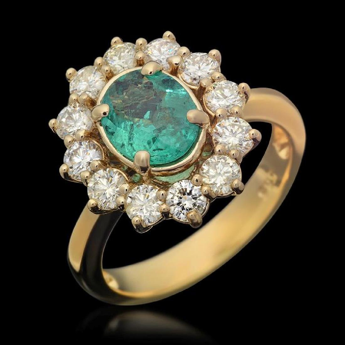 14K Gold 1.04ct Emerald 1.25ct Diamond Ring