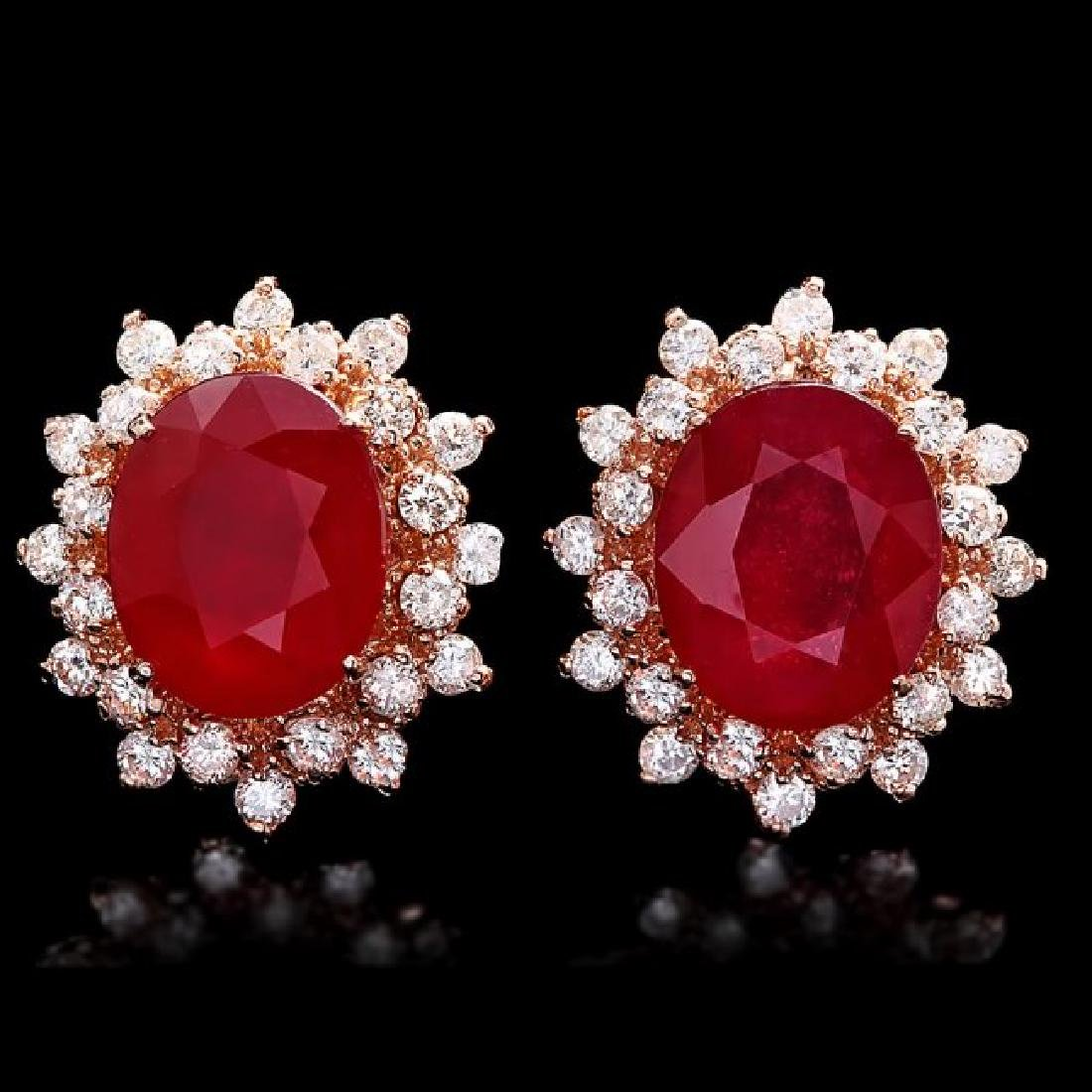 14k Rose 10.00ct Ruby 1.40ct Diamond Earrings