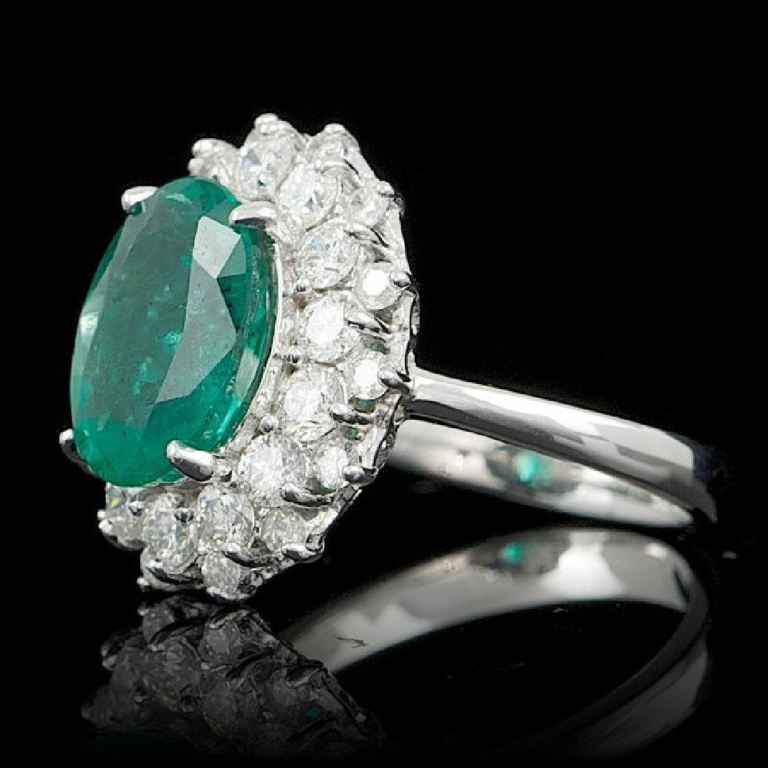 14k White Gold 3.50ct Emerald 1.55ct Diamond Ring