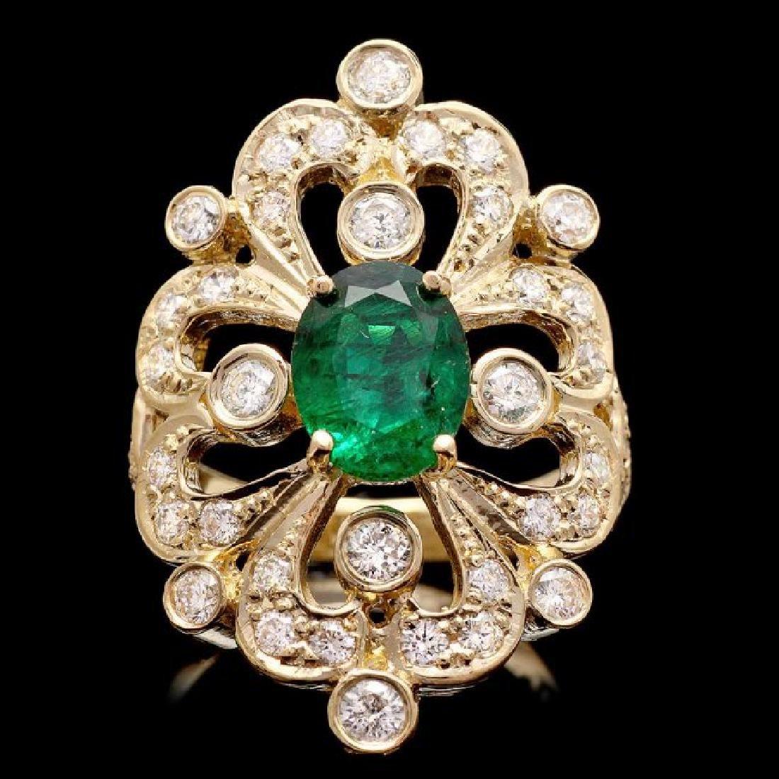 14k Gold 1.50ct Emerald 1.45ct Diamond Ring
