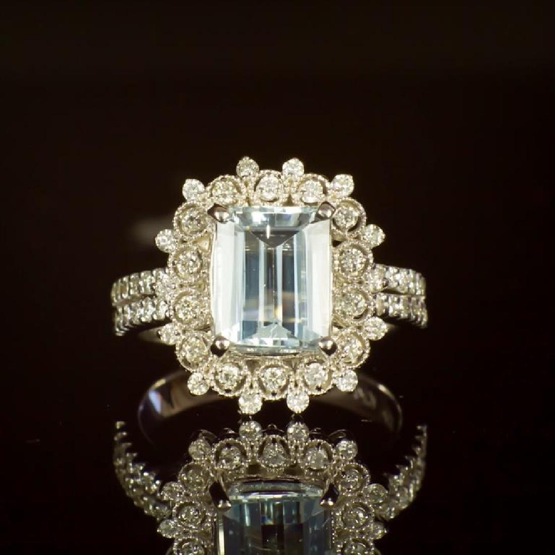 14K Gold 2.42ct Aquamarine 0.79ct Diamond Ring