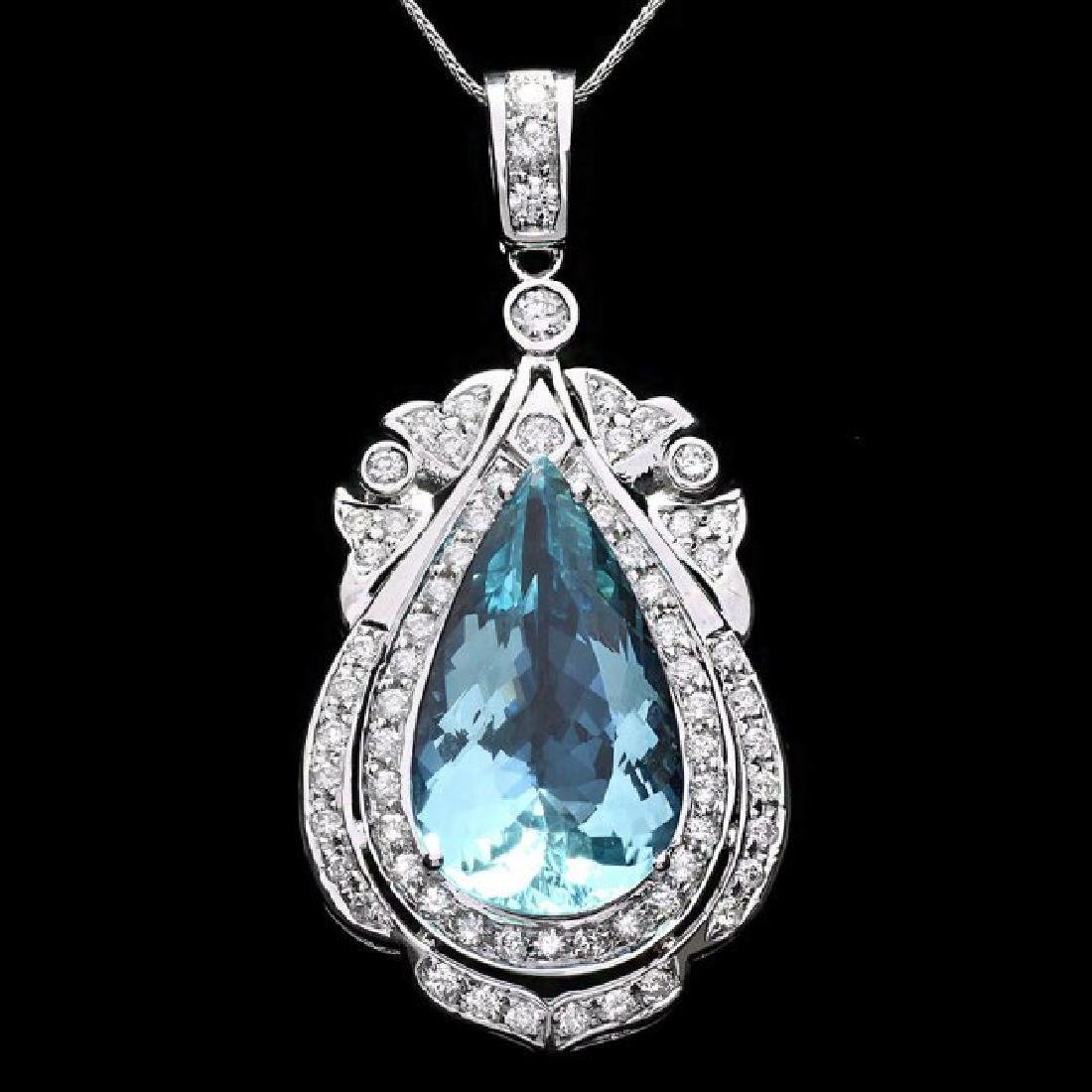 14k Gold 16ct Aquamarine 2ct Diamond Pendant