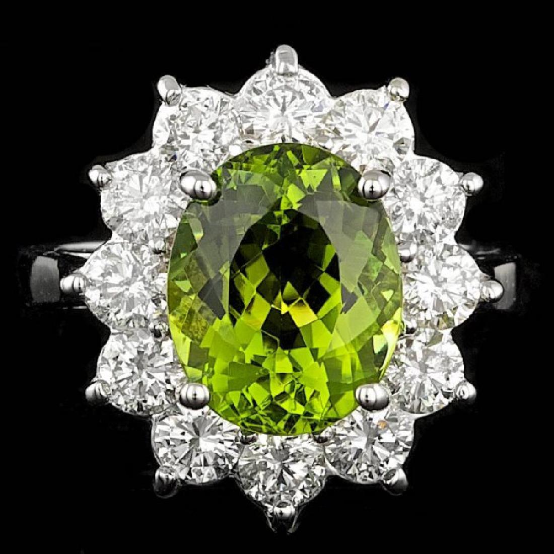 14k Gold 4.00ct Tourmaline 1.80ct Diamond Ring