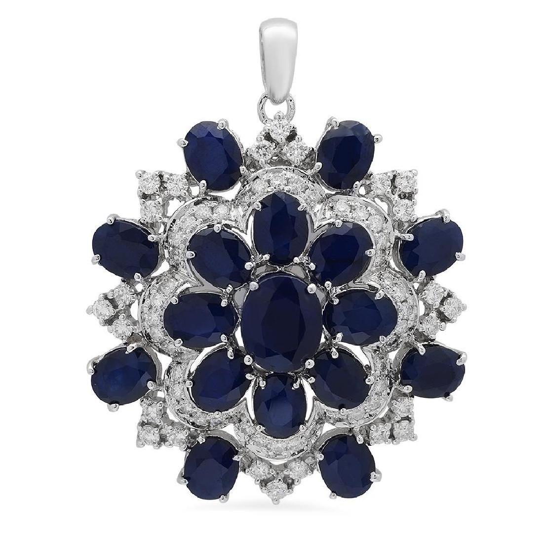 14K Gold 28.35ct Sapphire 2.55ct Diamond Pendant