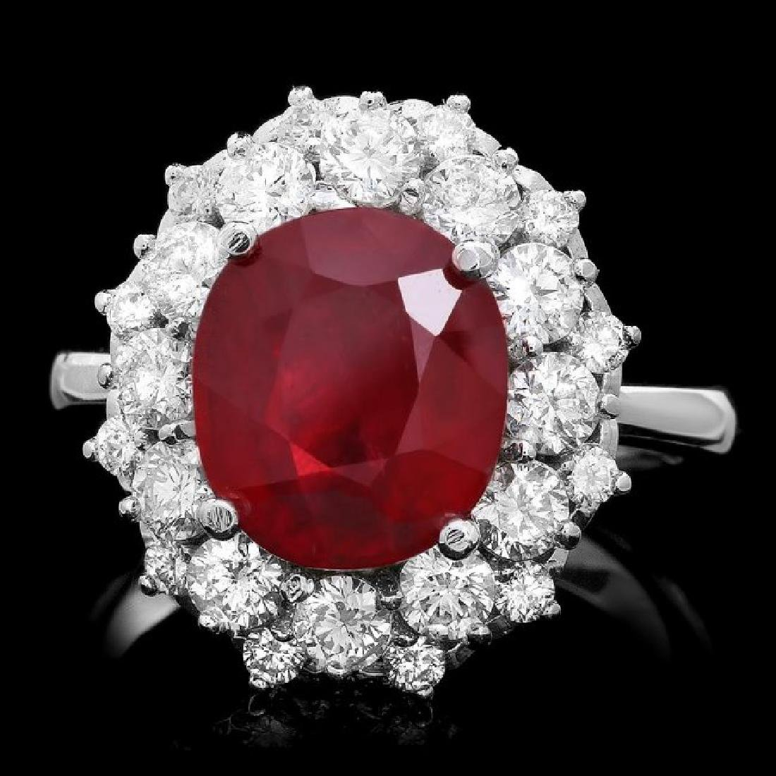 14k White Gold 6.00ct Ruby 1.50ct Diamond Ring