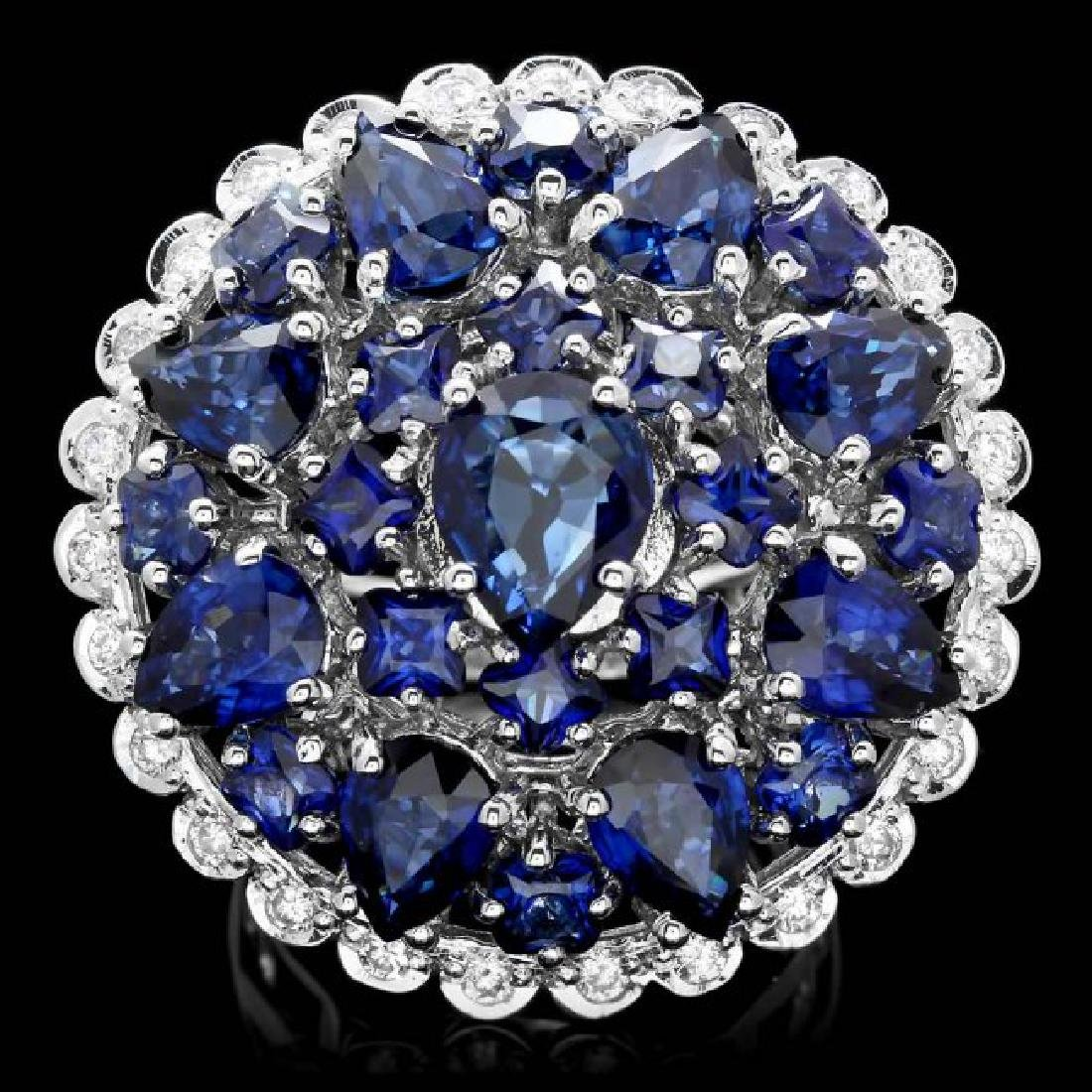 14k Gold 7.50ct Sapphire 0.75ct Diamond Ring