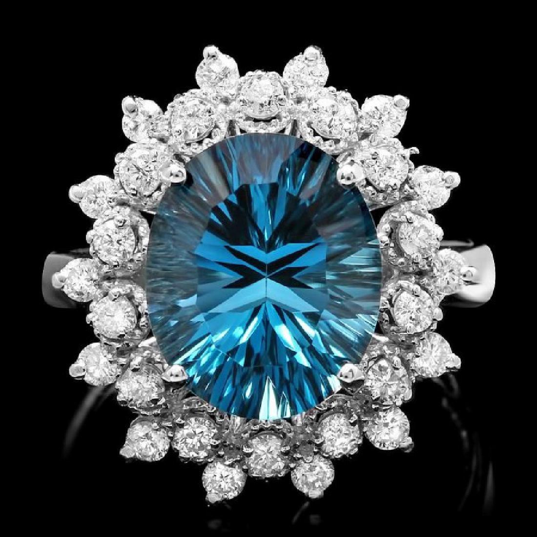 14k White Gold 5.50ct Topaz 0.70ct Diamond Ring