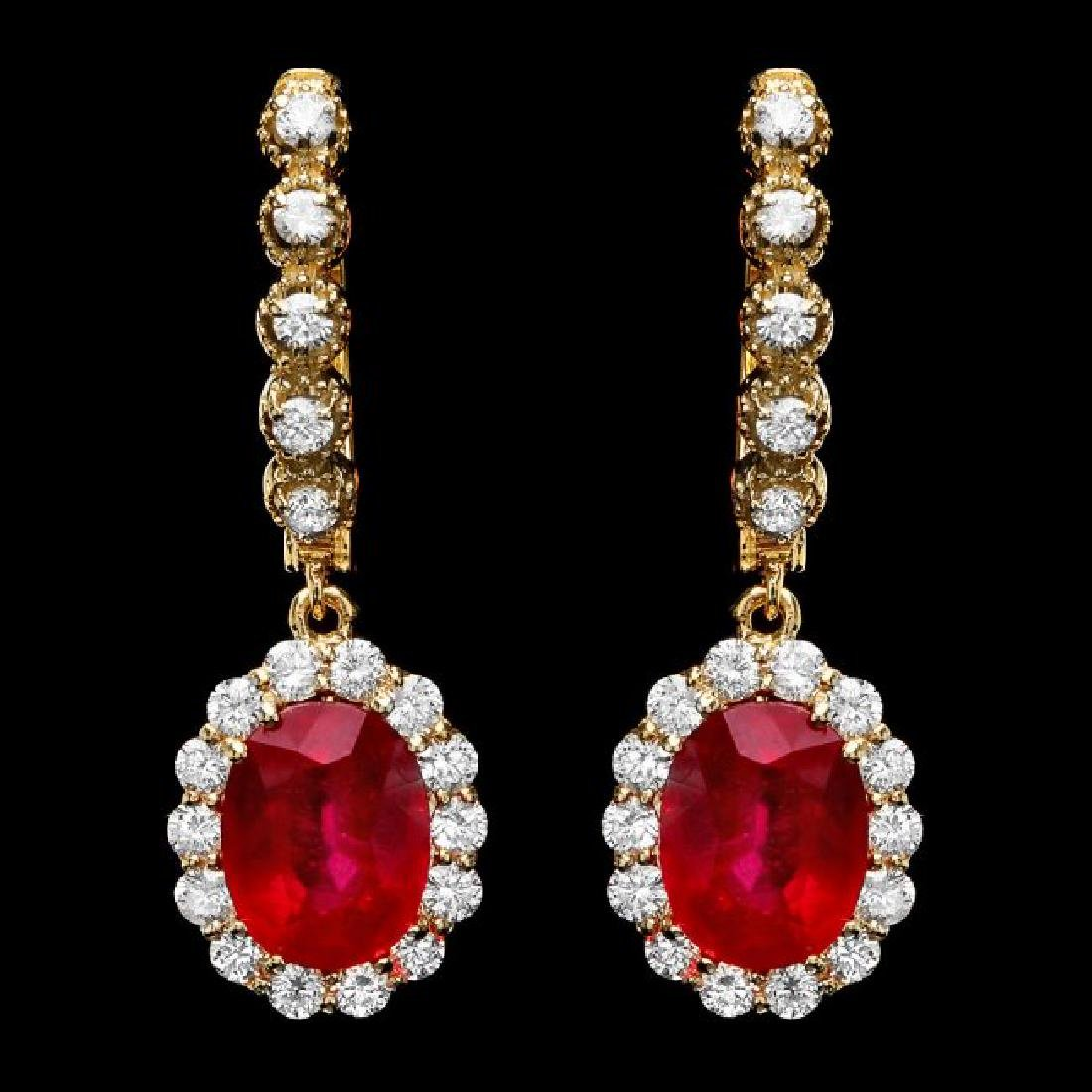 14k Gold 8.00ct Ruby 1.35ct Diamond Earrings