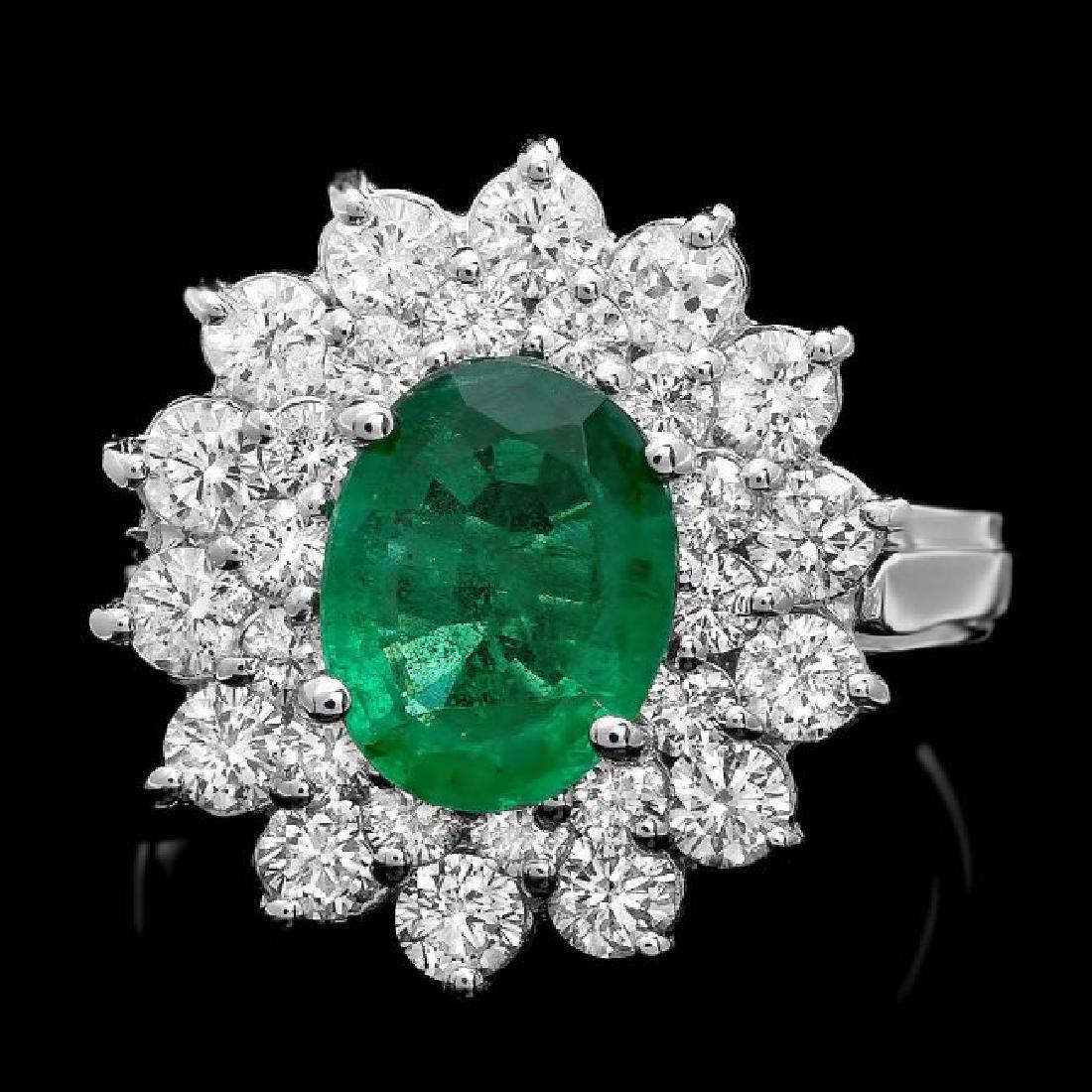 14k White Gold 1.60ct Emerald 1.45ct Diamond Ring