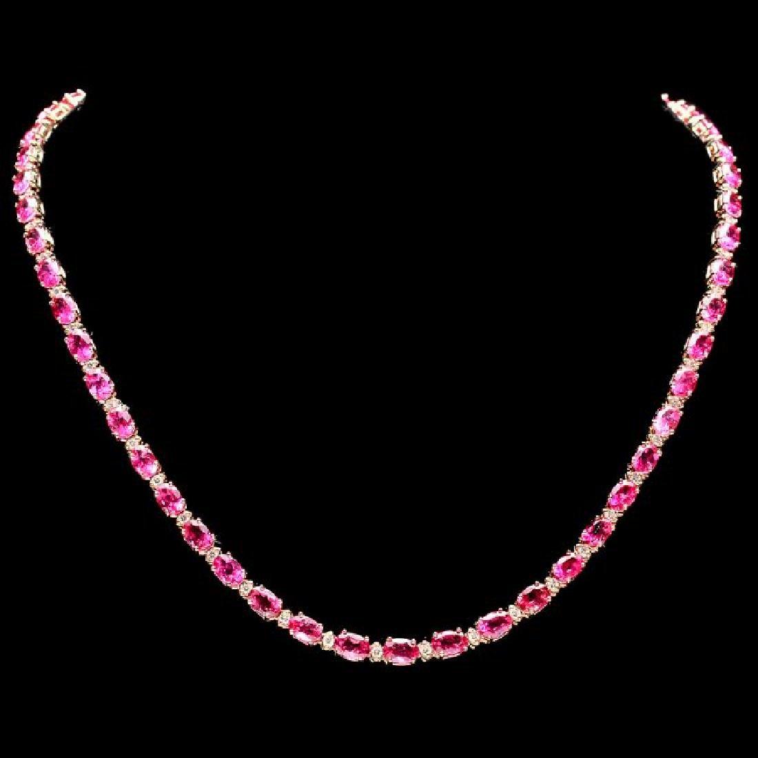 14k Gold 23ct Tourmaline 1.40ct Diamond Necklace