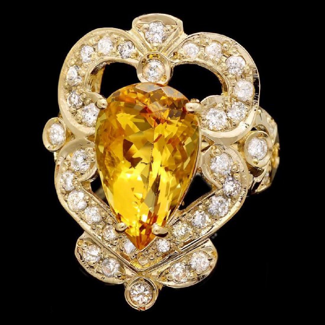 14k Yellow Gold 5.50ct Beryl 1.15ct Diamond Ring