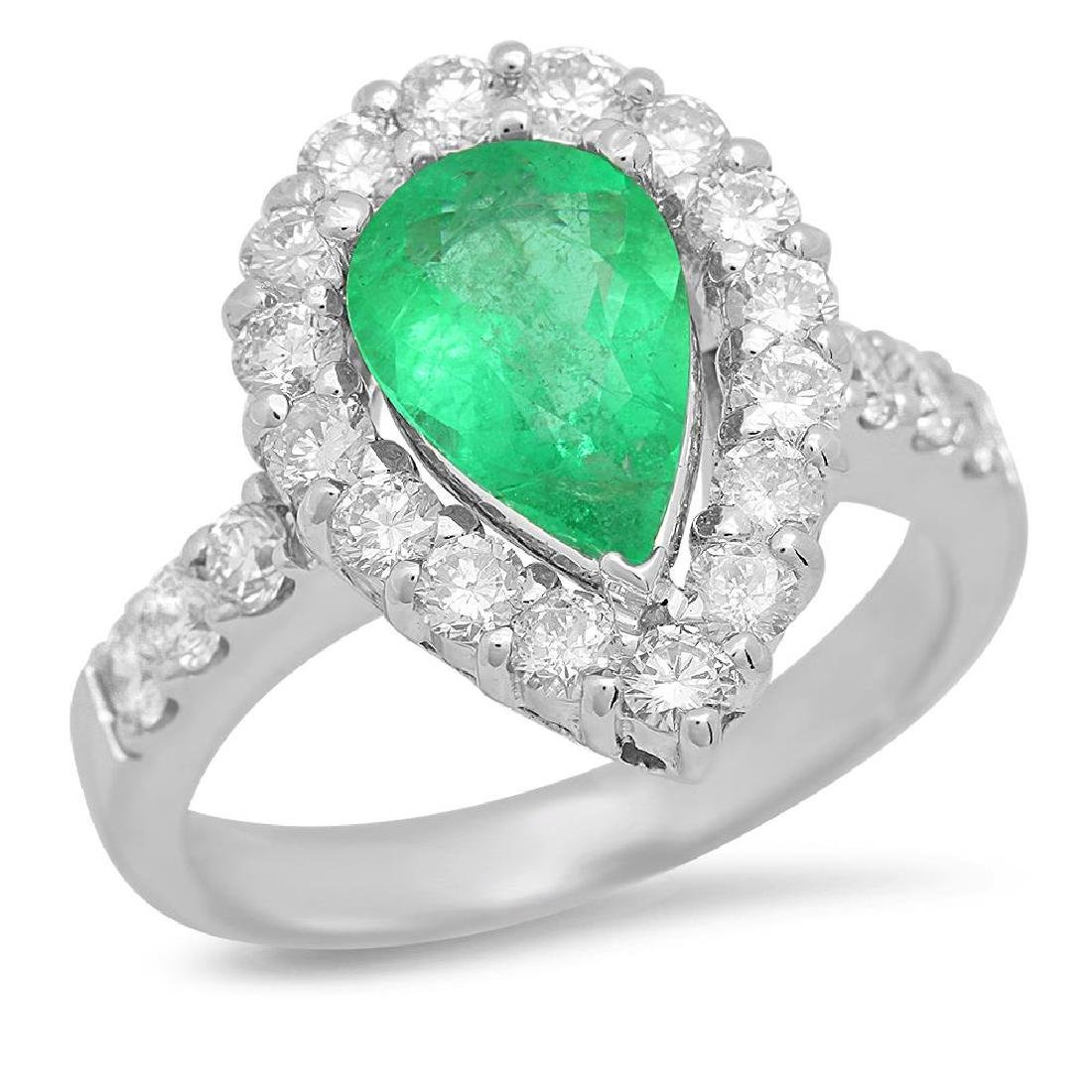 14K Gold 1.31ct Emerald 1.20cts Diamond Ring