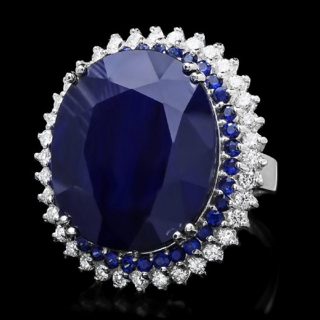 14k Gold 44.4ct Sapphire 1.35ct Diamond Ring