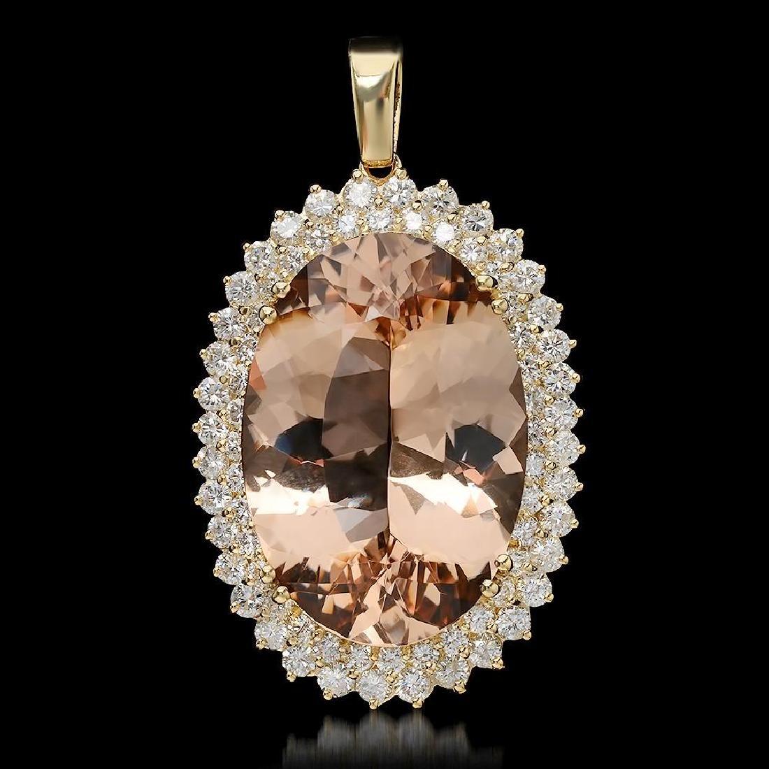 14K Gold 40.22ct Morganite 4.15ct Diamond Pendant