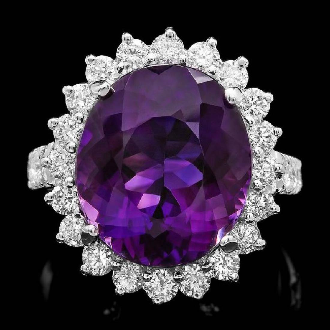 14k Gold 9.50ct Amethyst 1.60ct Diamond Ring