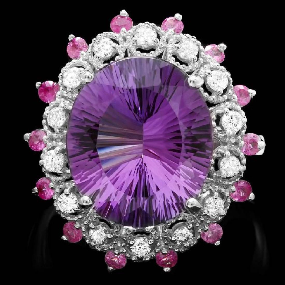 14k Gold 6.50ct Amethyst 0.35ct Diamond Ring