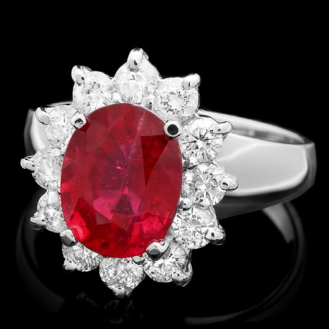 14k White Gold 3.50ct Ruby 1.00ct Diamond Ring
