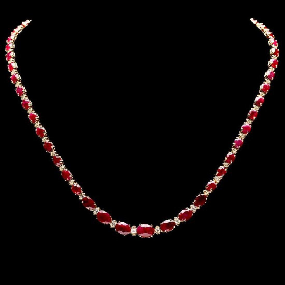 14k Gold 24.00ct Ruby 1.00ct Diamond Necklace