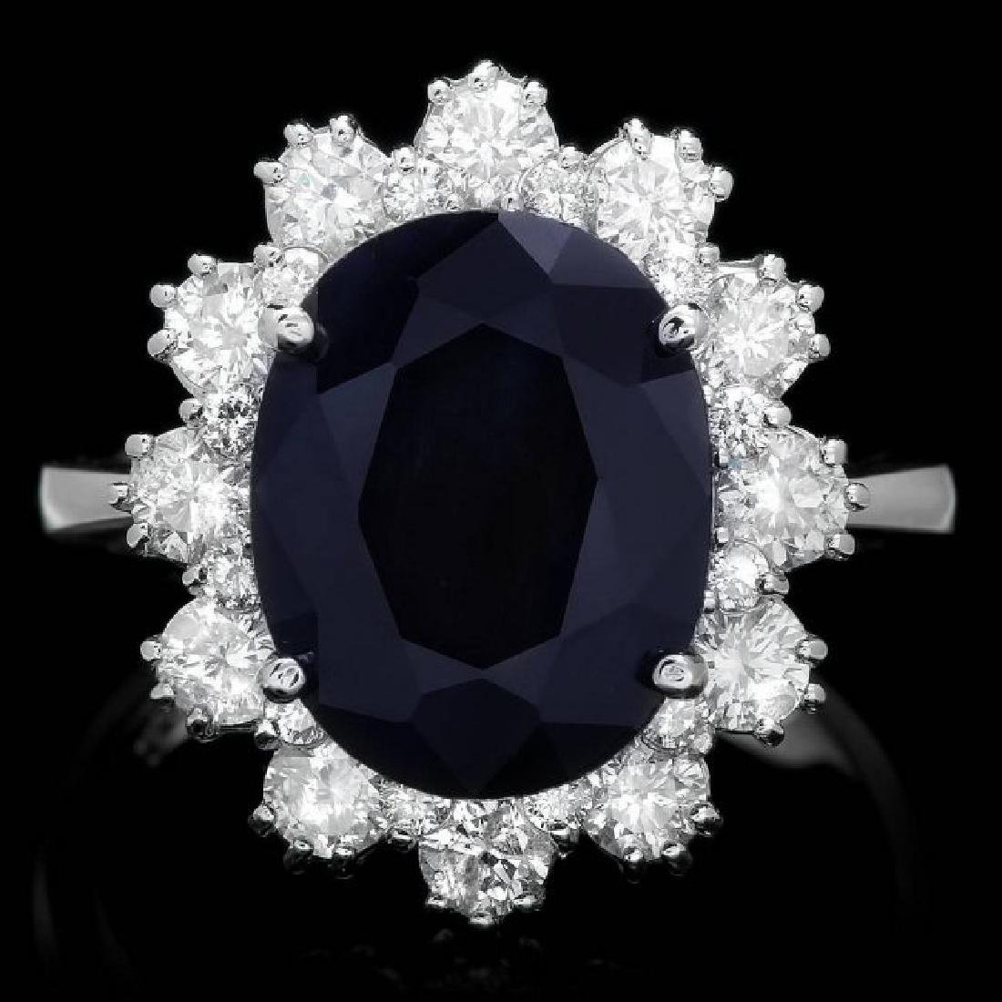 14k Gold 6.00ct Sapphire 1.35ct Diamond Ring