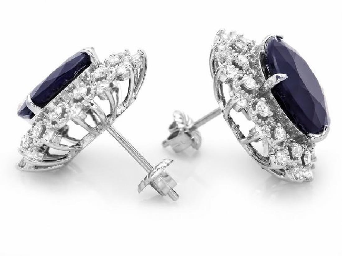 14k Gold 15ct Sapphire 1.40ct Diamond Earrings - 2
