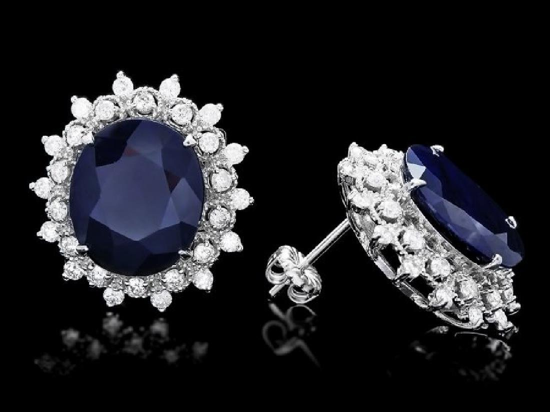 14k Gold 15ct Sapphire 1.40ct Diamond Earrings - 3
