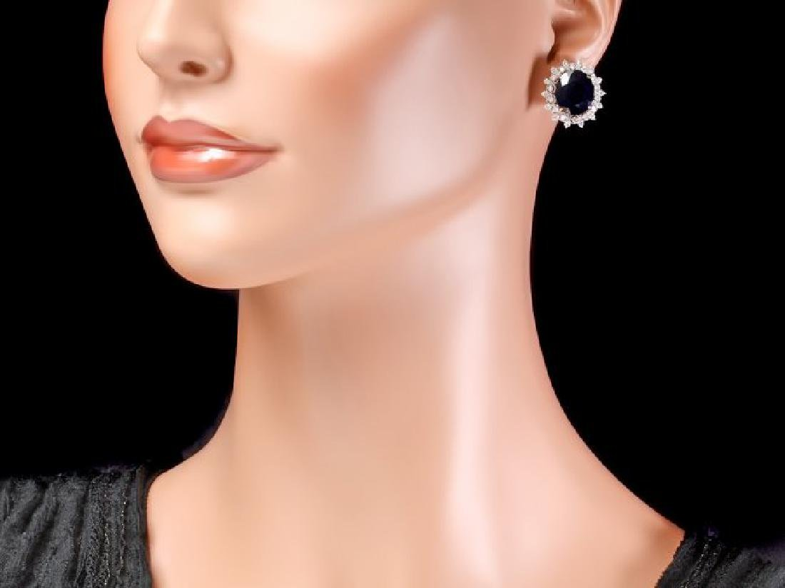 14k Gold 15ct Sapphire 1.40ct Diamond Earrings - 4