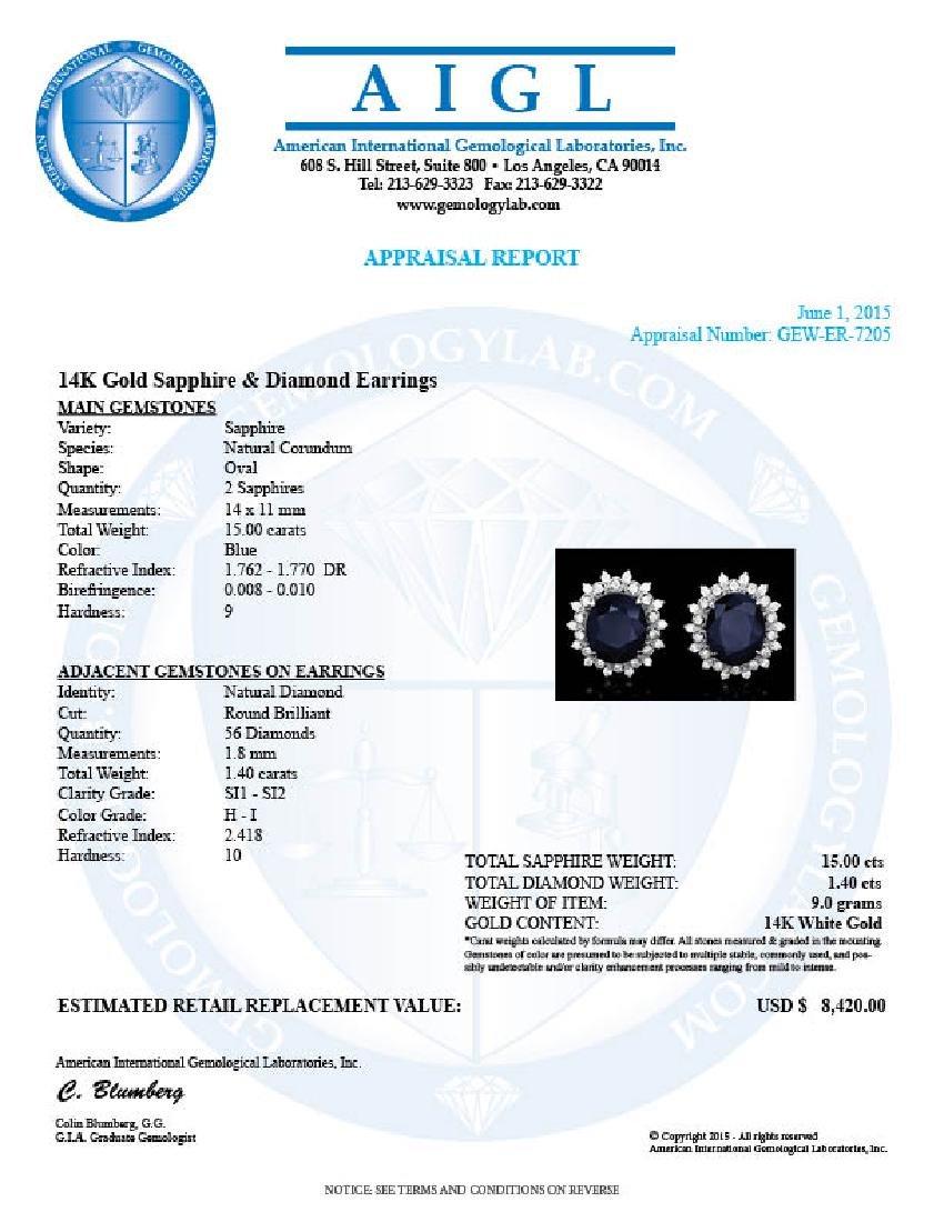 14k Gold 15ct Sapphire 1.40ct Diamond Earrings - 5