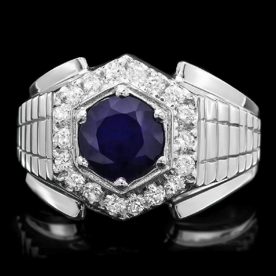 14k Gold 2.00ct Sapphire 0.60ct Diamond Mens Ring