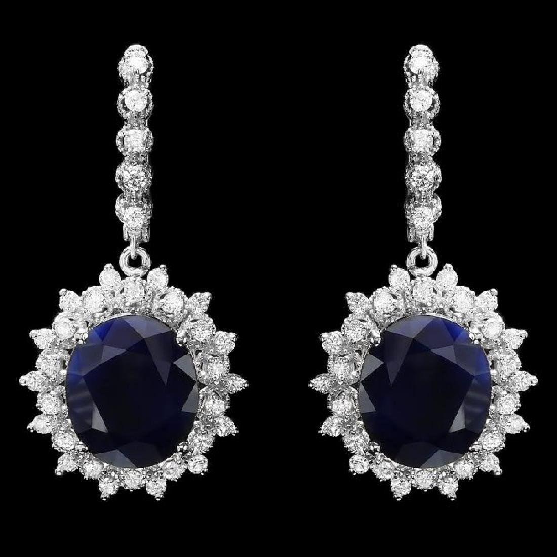 14k Gold 17ct Sapphire 1.80ct Diamond Earrings