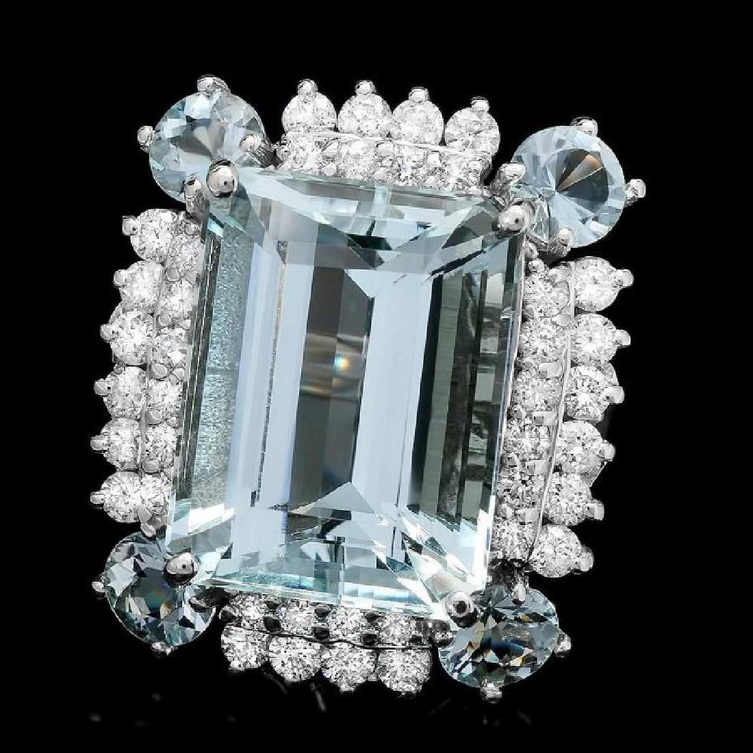 14k Gold 15.8ct Aquamarine 1.50ct Diamond Ring