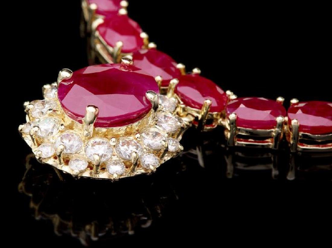 14k Yellow Gold 49ct Ruby 1.30ct Diamond Necklace