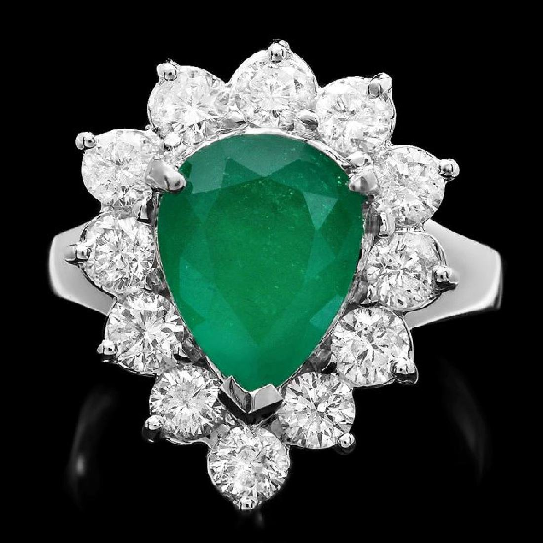 14k White Gold 2.70ct Emerald 1.50ct Diamond Ring