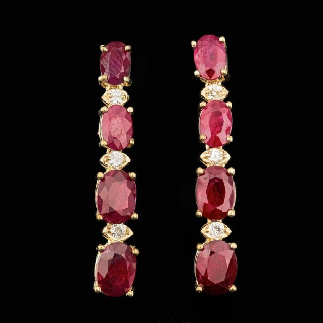 14k Gold 7.00ct Ruby 0.20ct Diamond Earrings