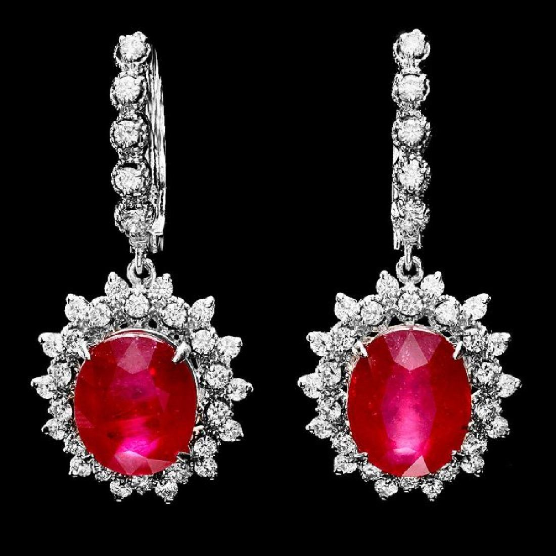 14k Gold 14.15ct Ruby 1.80ct Diamond Earrings