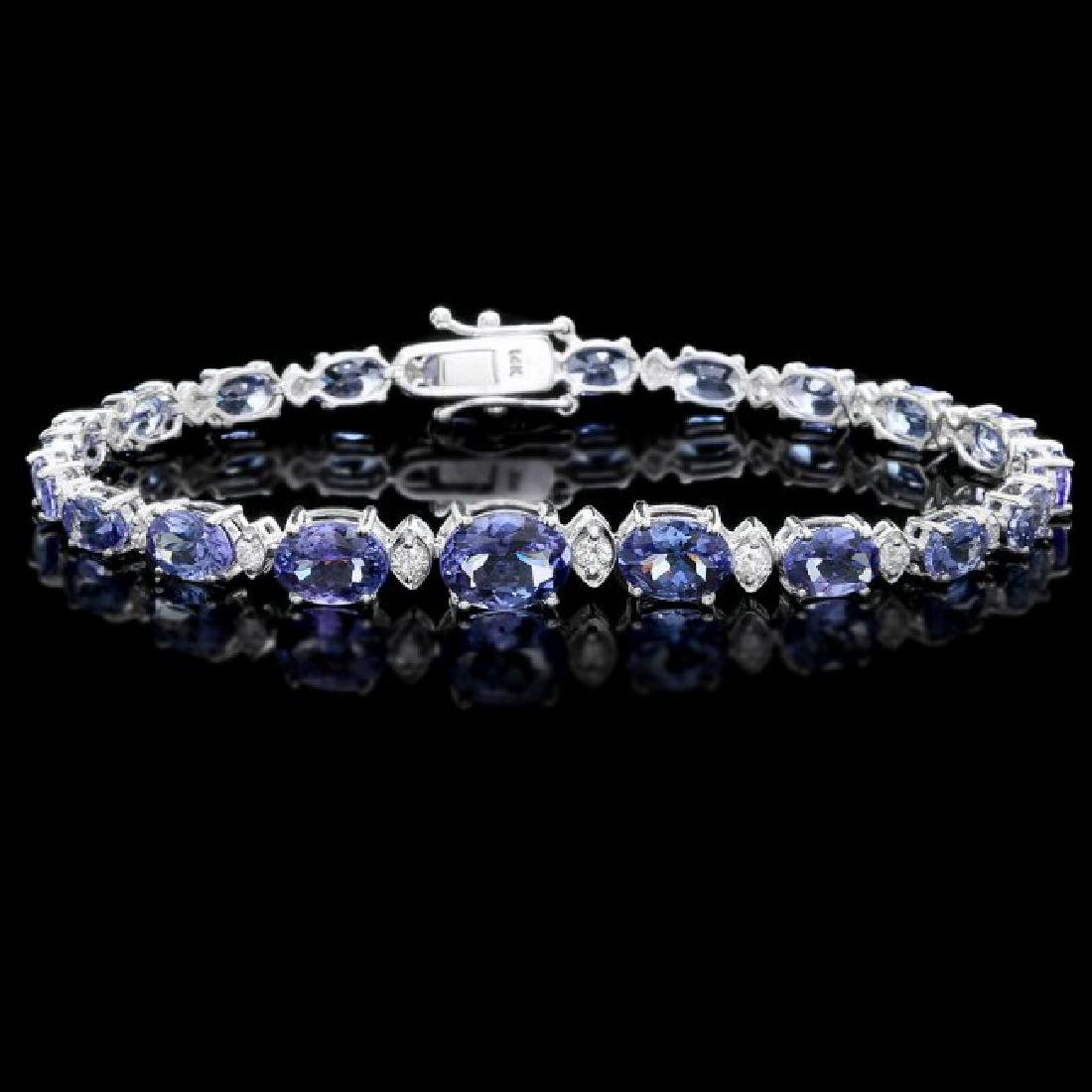 14k 12.50ct Tanzanite 0.80ct Diamond Bracelet