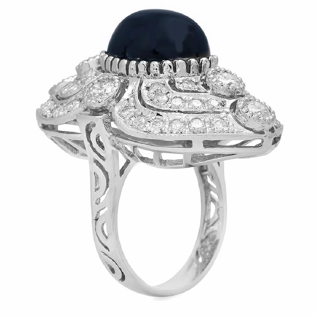 14K Gold 13.58ct Star Sapphire 2.47ct Diamond Ring - 2