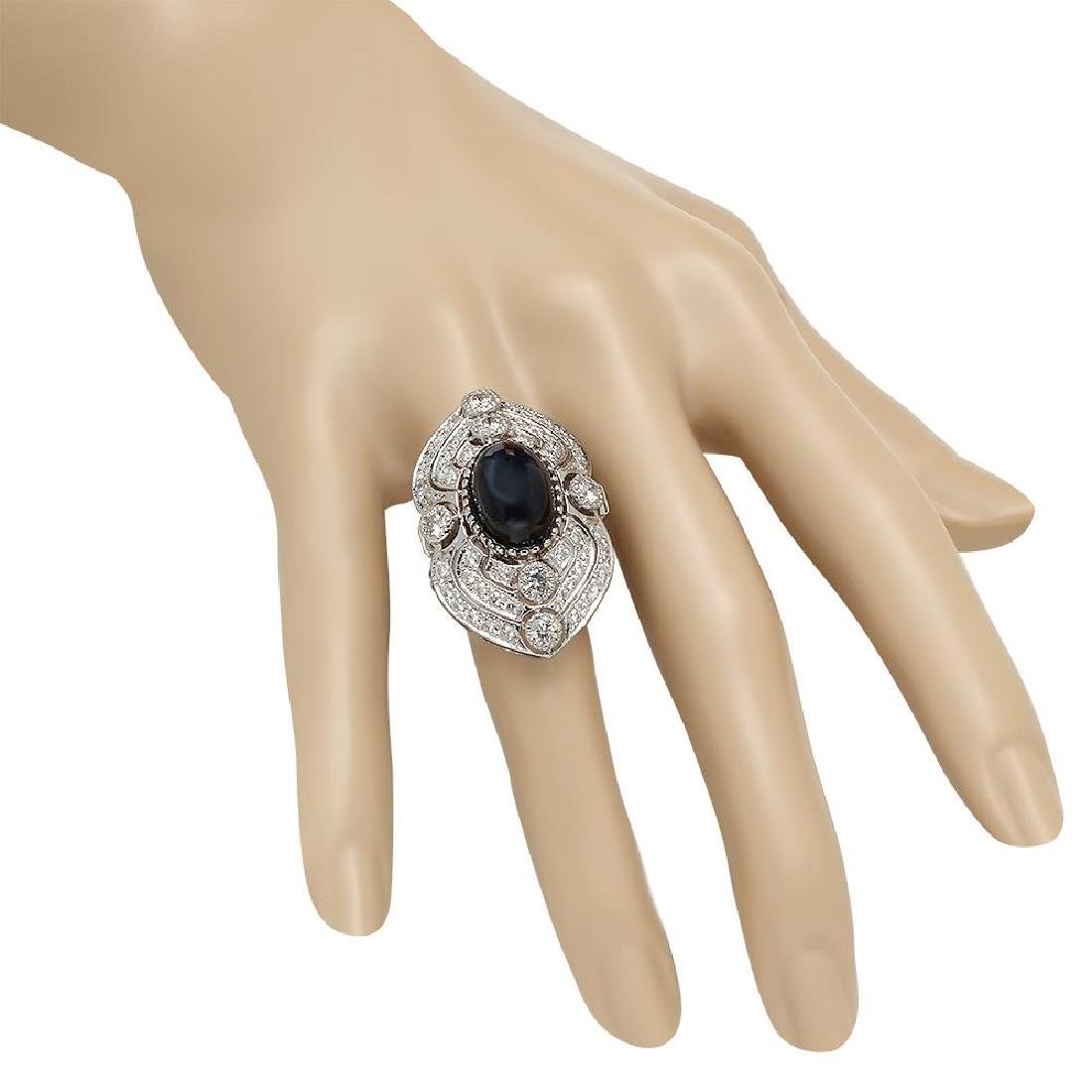 14K Gold 13.58ct Star Sapphire 2.47ct Diamond Ring - 3