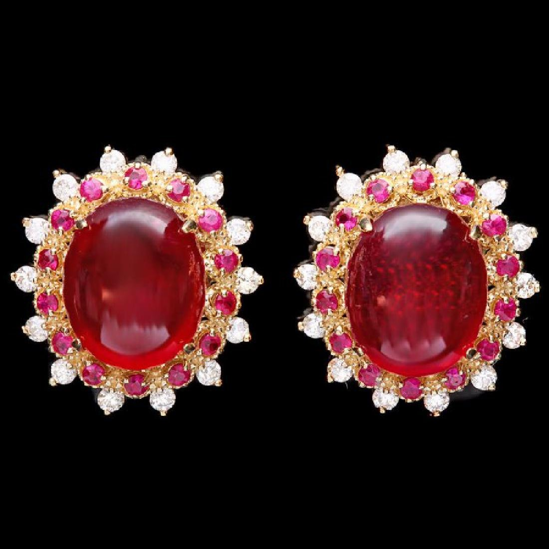 14k Gold 17.5ct Ruby 0.80ct Diamond Earrings